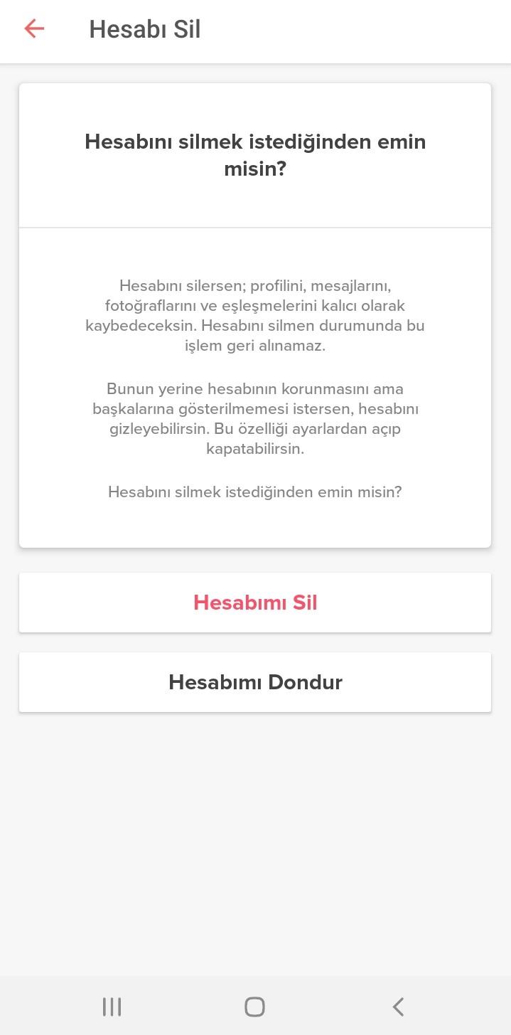 Tinder Hesap Dondurma