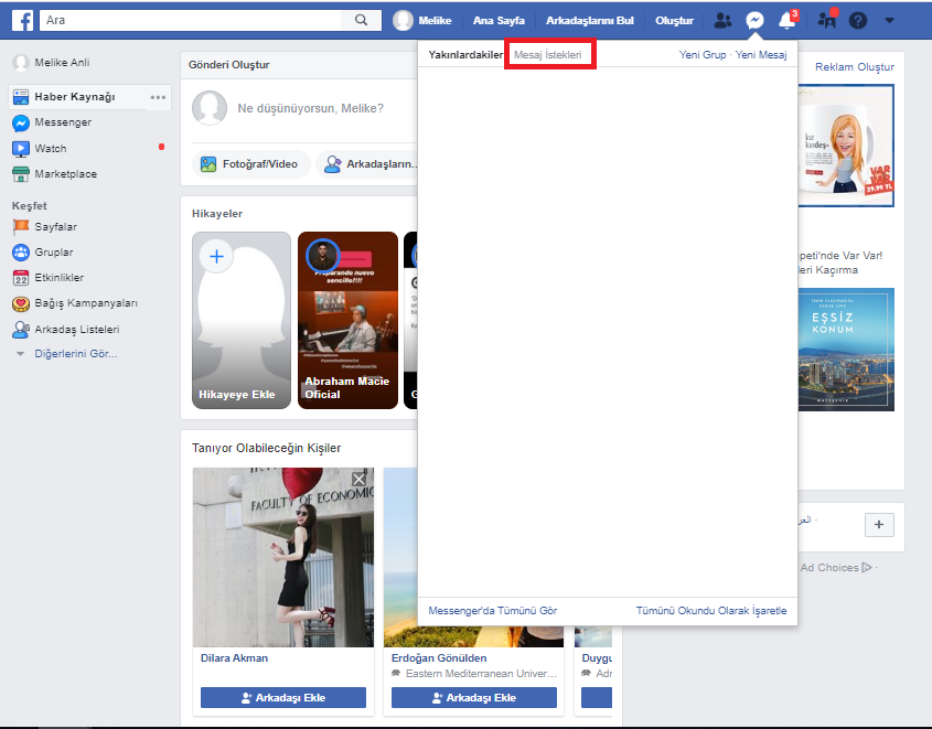Facebook Diğer Kutusu Nerede