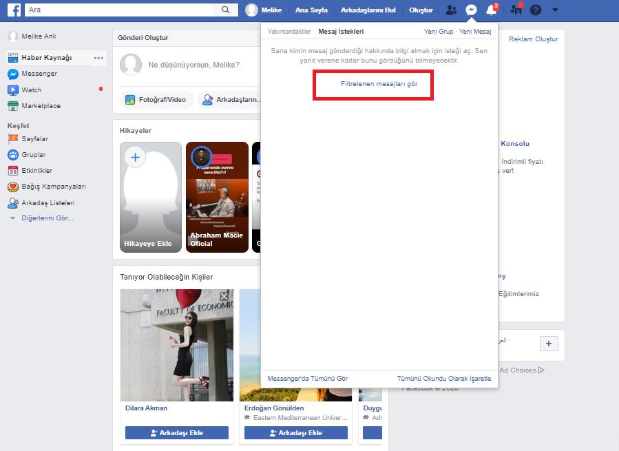Facebook Filtrelenen Mesajları Görme