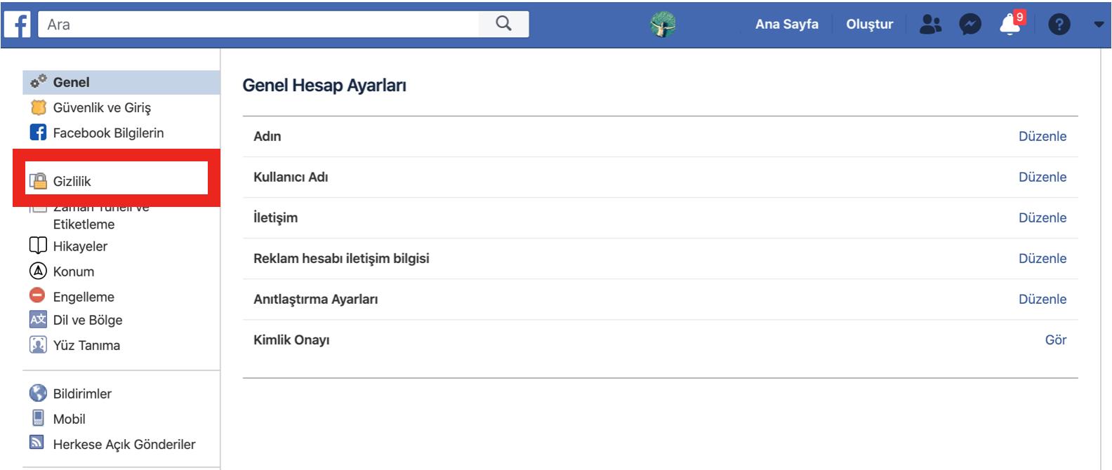 facebook arkadas listesi gizleme 3