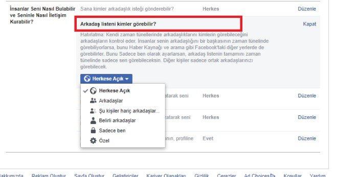 facebook arkadas listesi gizleme 5