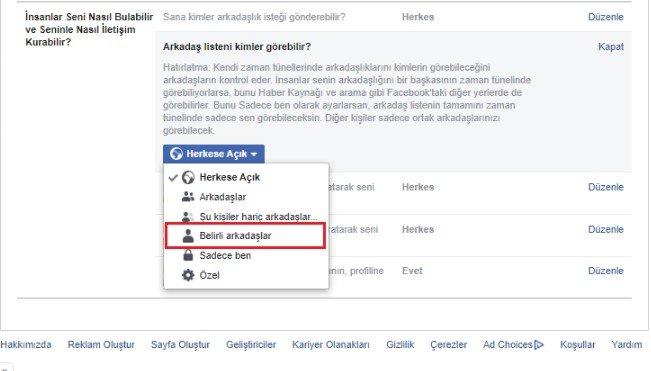 Facebook'ta bazı arkadaşları gizleme