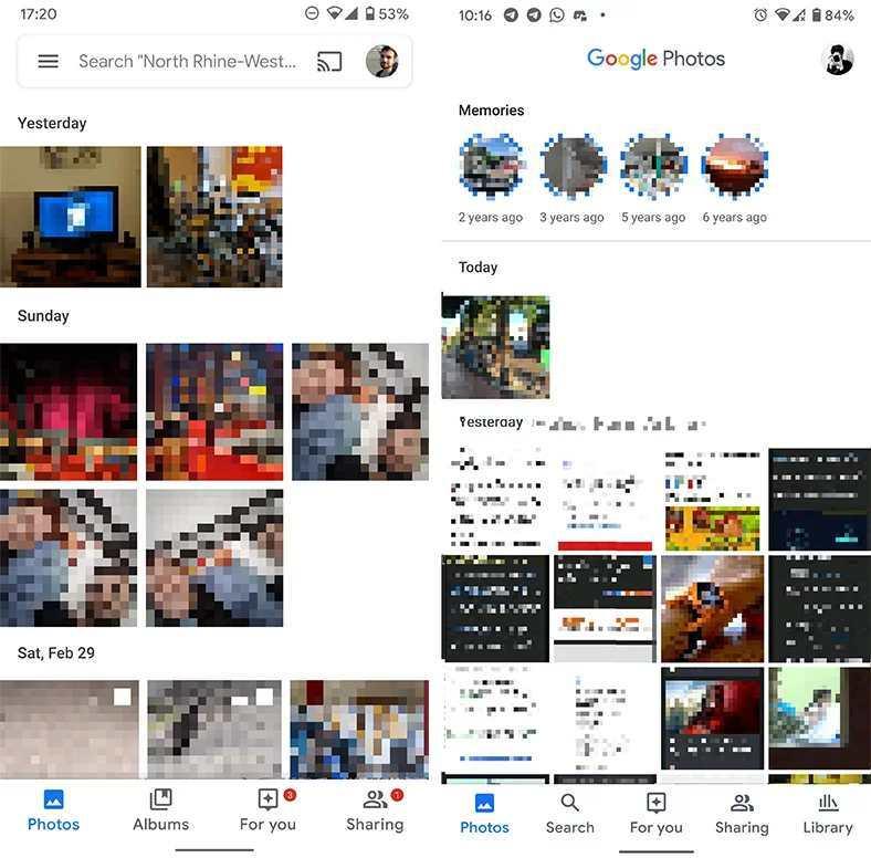google fotoğraflar arama çubuğu ve menü butonu