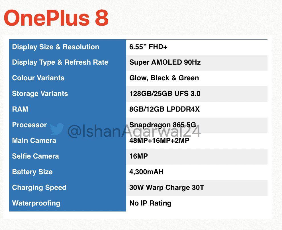 OnePlus8 teknik özellikler