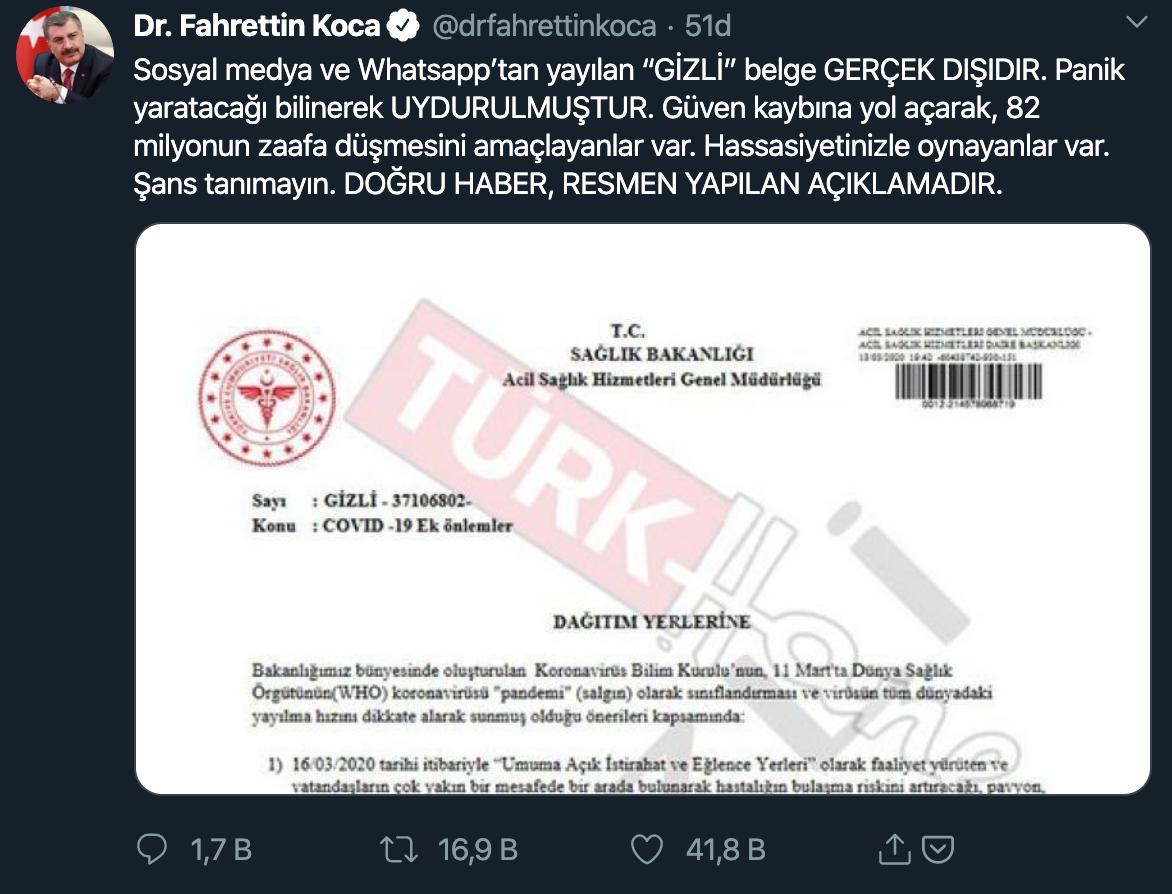 Sağlık Bakanı Fahrettin Koca Belgeyi Yalanladı