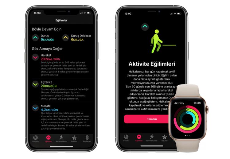 apple watch aktivite paylaşımı