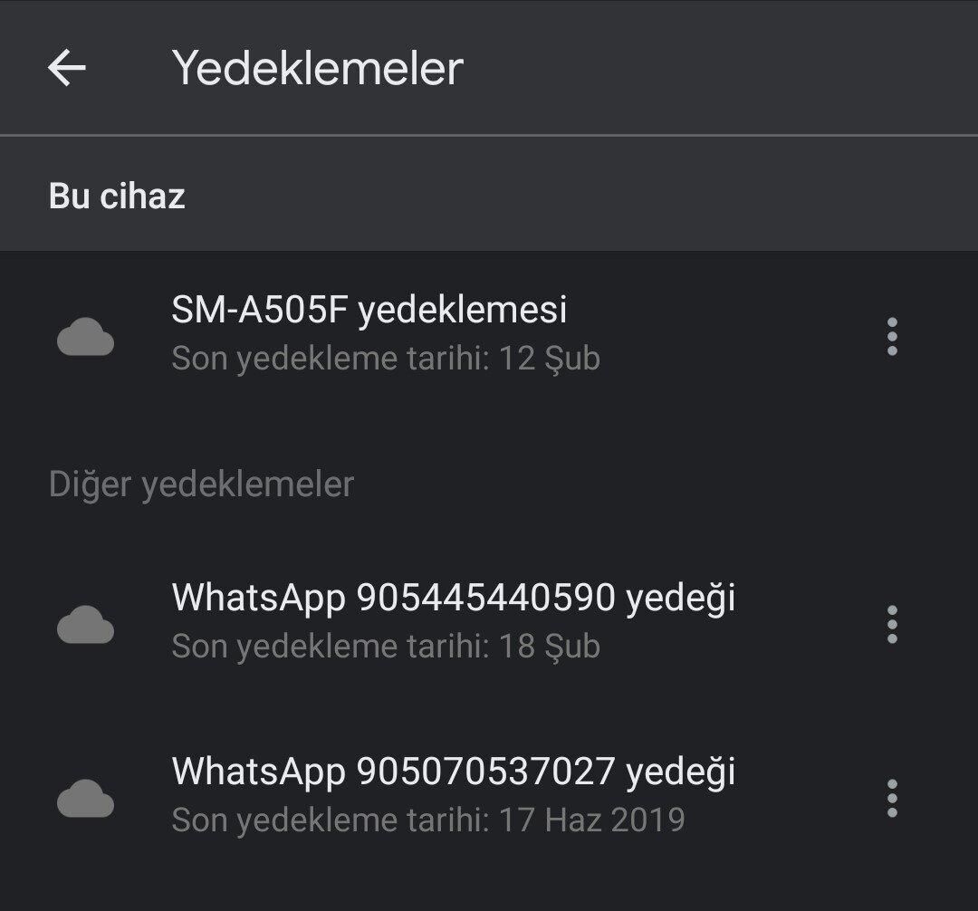 google drive whatsapp yedeği nerede
