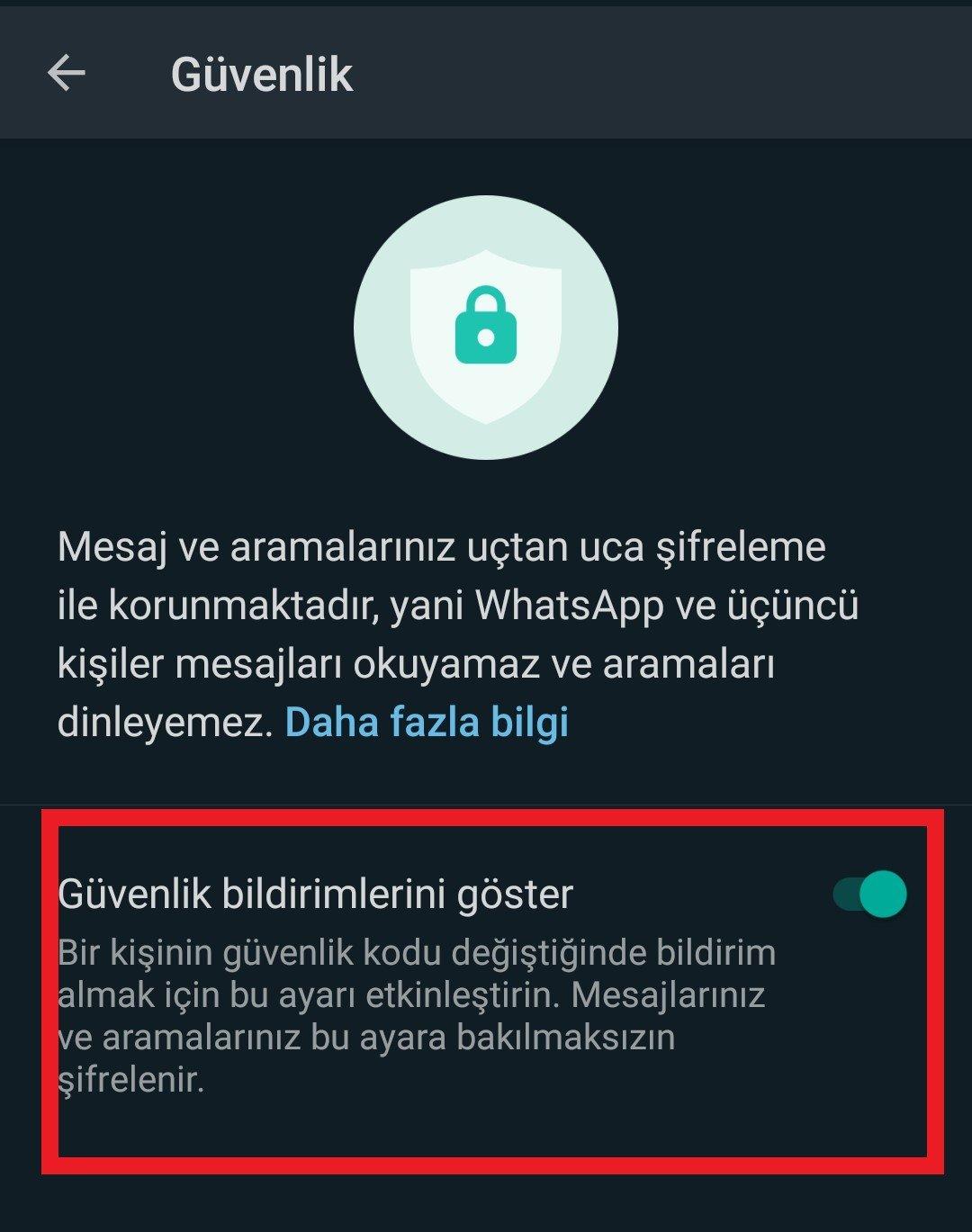 whatsapp güvenlik kodu değişti