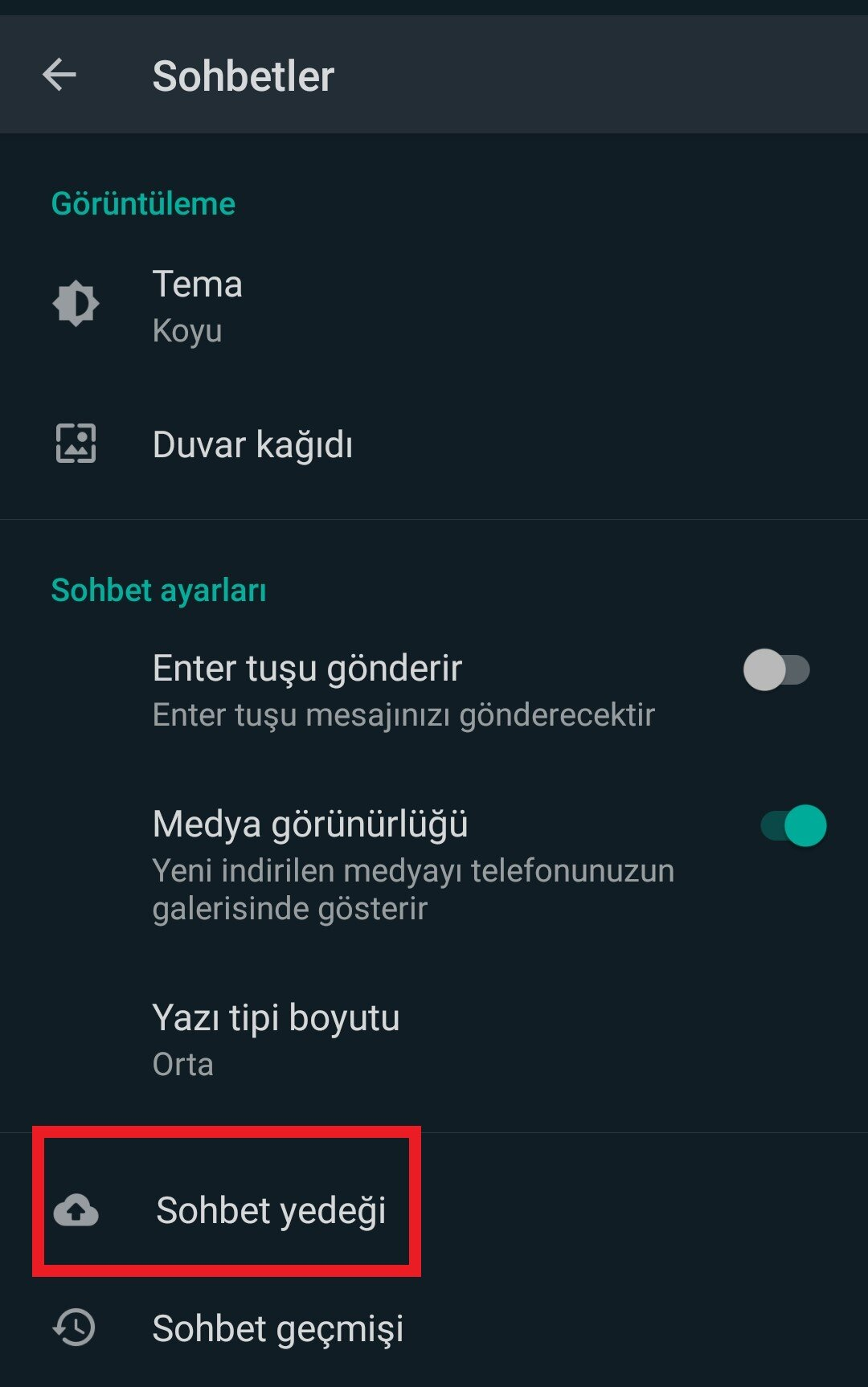 whatsapp yedek alma android