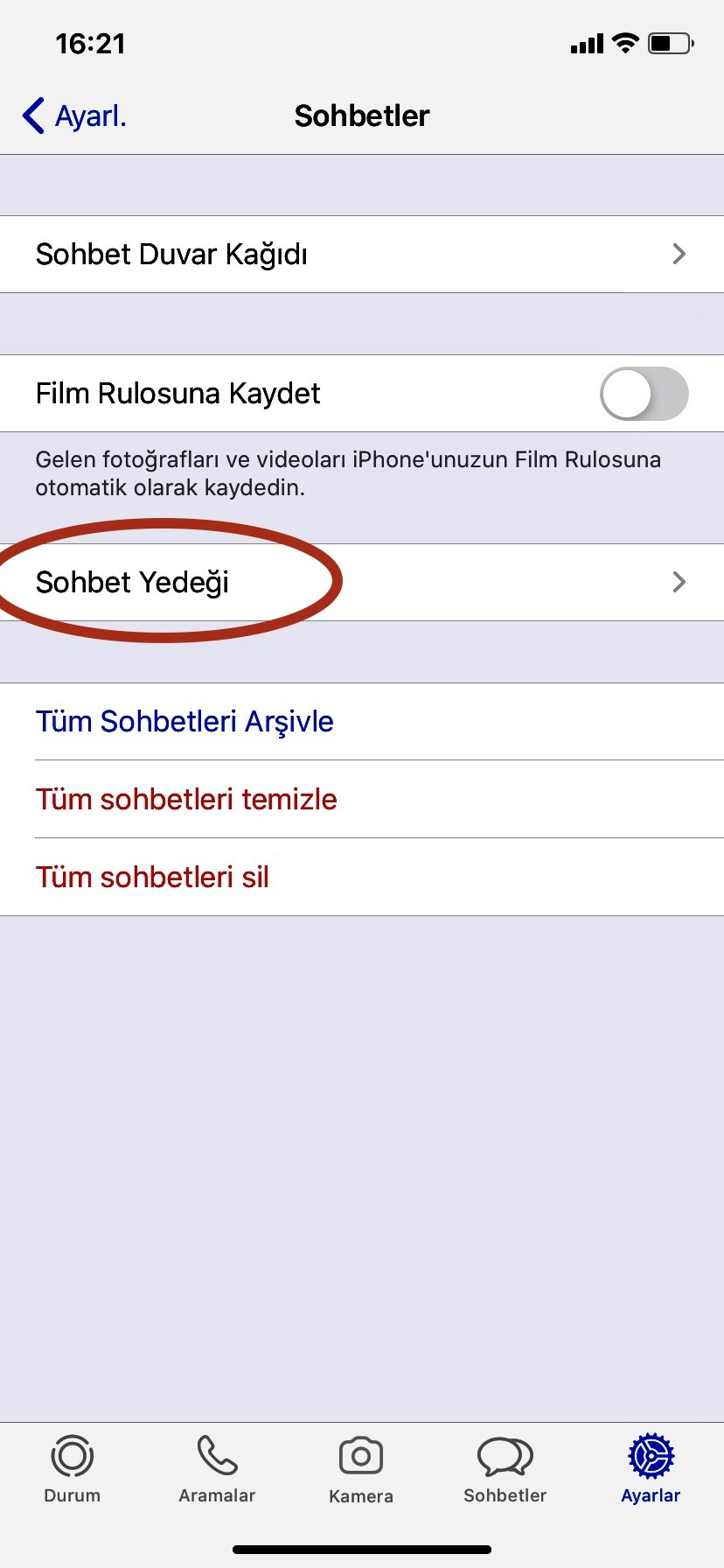 whatsapp yedekleme apple