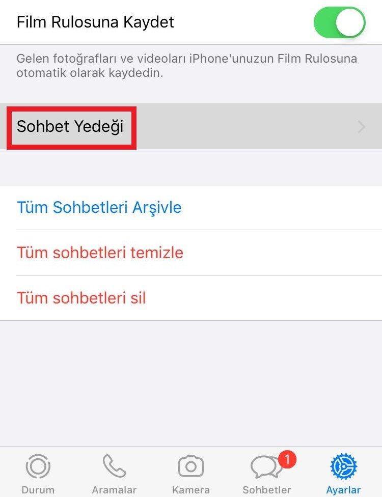 whatsapp yedekleme iphone