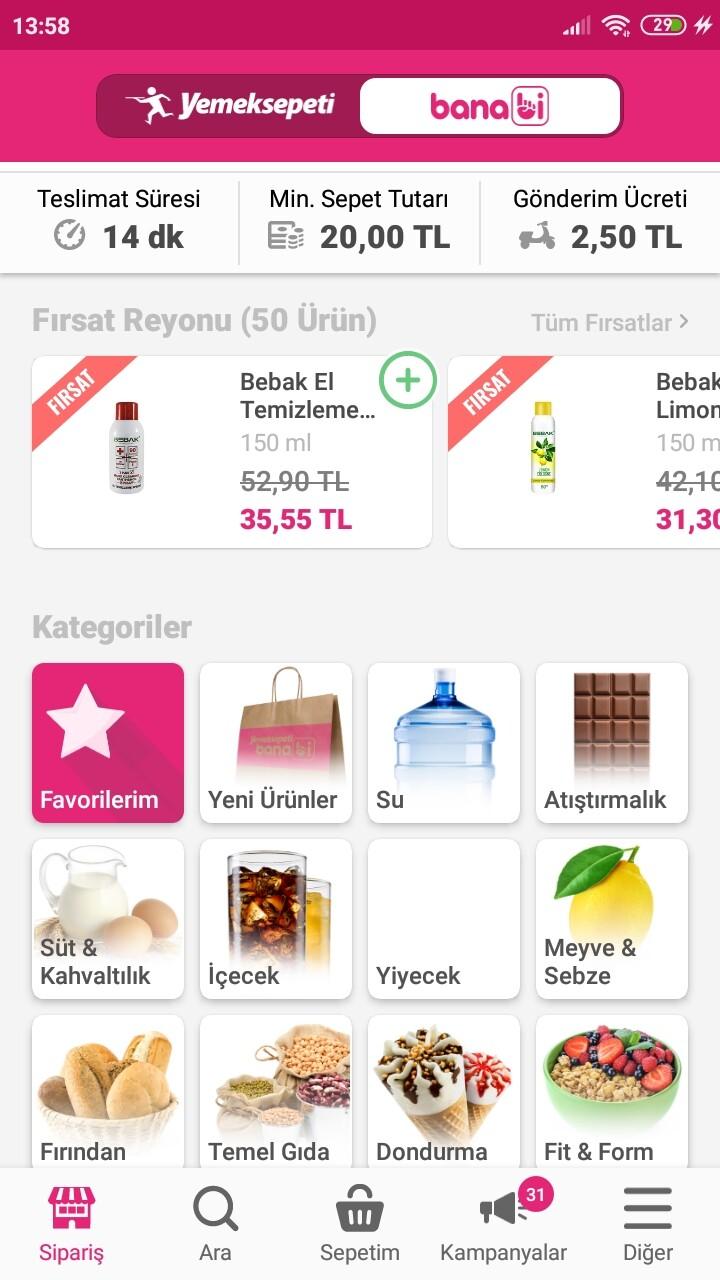 banabi online market siparişi