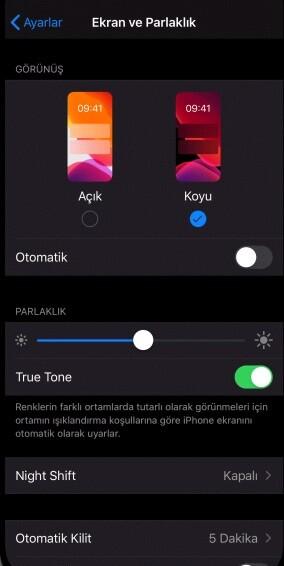 iPhone dark mod açma