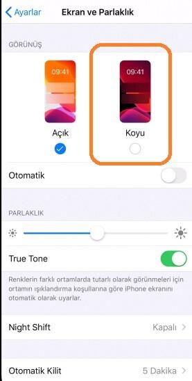 iphone karanlık mod yapma