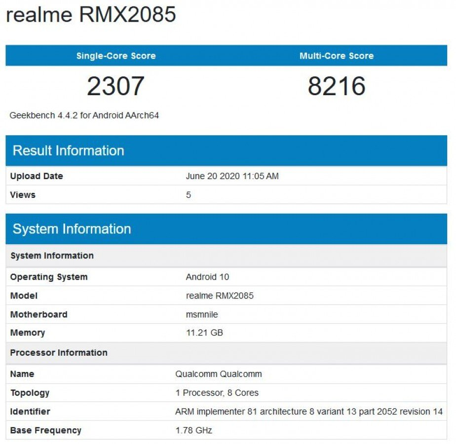 Realme X3 Geekbench Testi