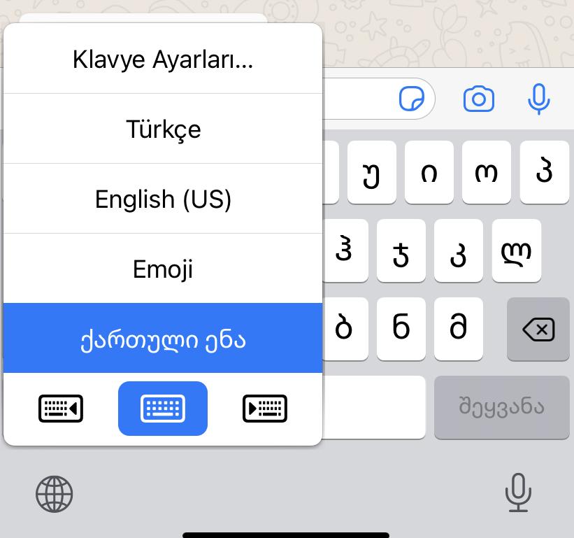 whatsapp klavye dil değiştirme nasıl yapılır
