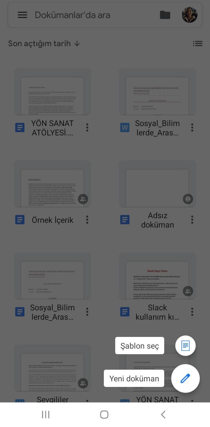 Google Dokümanlar Doküman Oluşturma