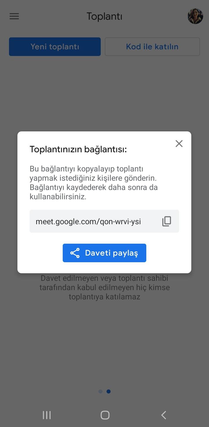 Google Meet Toplantı Oluşturma