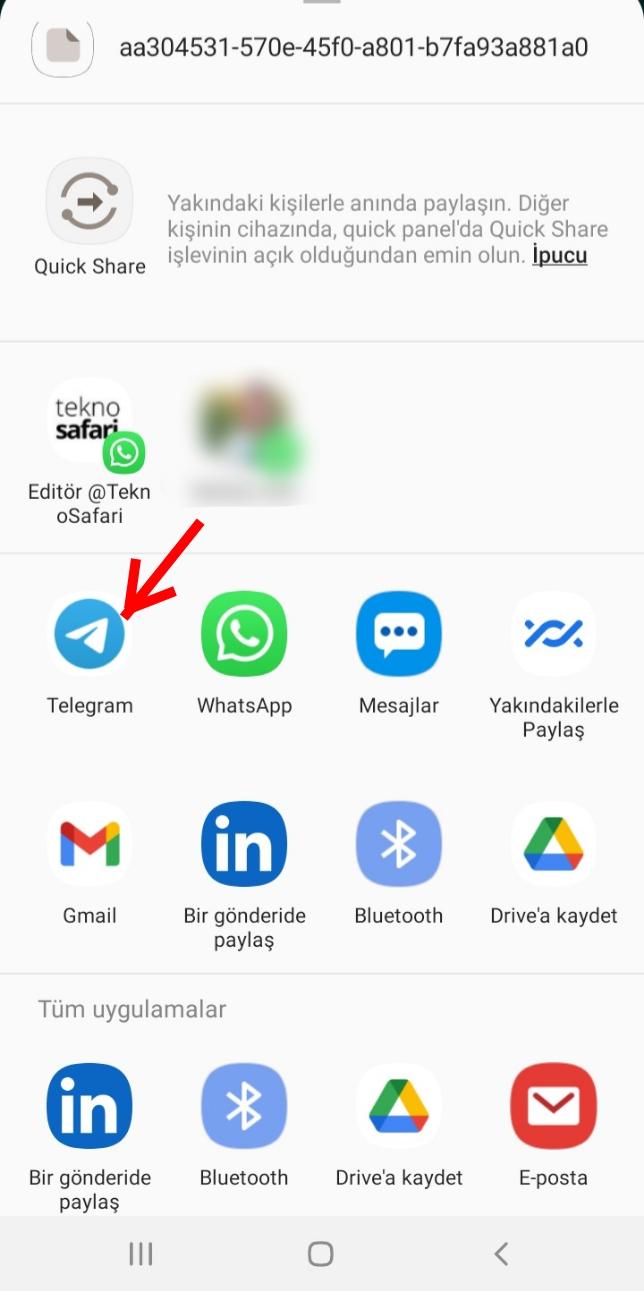 Telegram'a Aktarılan Sohbeti Görüntüleme