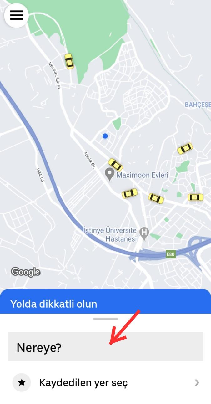 Uber Taksi Çağırma