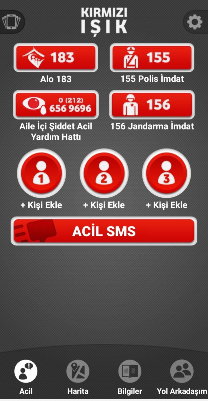 Kırmızı Işık Uygulamasında Acil SMS Gönderme
