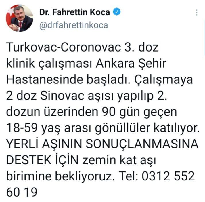 Yerli Koronavirüs aşısı Turkovac-Coronovac'ın 3'üncü doz klinik testleri başladı.